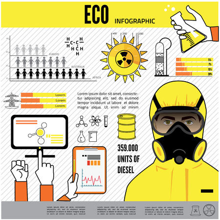 hazmat: industry infographics, extraction, processing and transportation. Man in protective hazmat suit