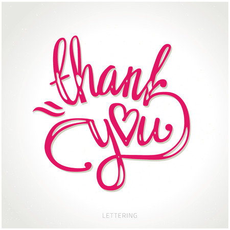 scripts: thank you hand lettering - handmade calligraphy vector illustration.