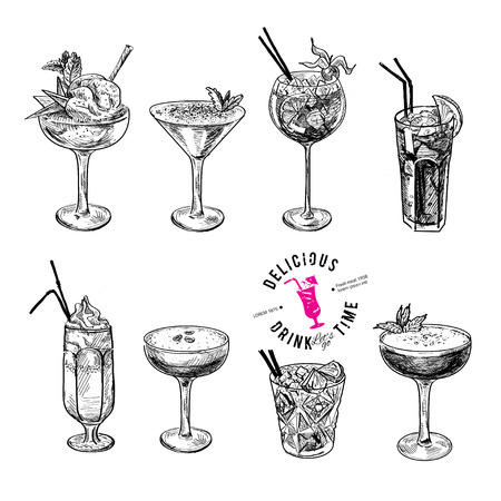 Hand drawn sketch set of alcoholic cocktails. Vector illustration