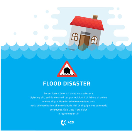 flood: Building Soaking Under Flood Disaster Illustration. Illustration