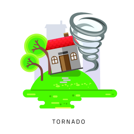 ruined house: Tornado swirl damages village house roof illustration in flat style Illustration