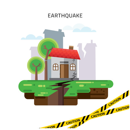 earthquake crack: Earthquake Insurance Colourful Illustration flat style