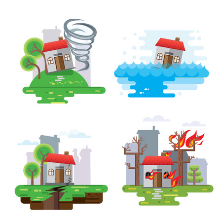 storm damage: House insurance business service icons template. illustration. Can be used for workflow layout, banner, diagram, number options, web design, timeline, infographics.