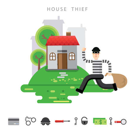 burgler: Theft Insurance Colourful Illustration flat style with icon