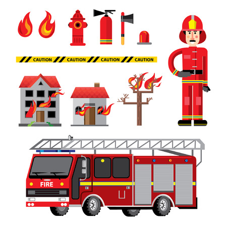 fire department: Fire department flat icons composition banner with facilities equipment and fireman holding safety tips abstract vector illustration