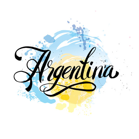 argentina flag: Argentina lettering. Hand lettering logo with watercolor elements.  argentina flag colors, grunge effects can be easily removed