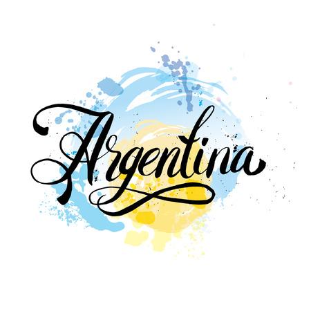 bandera argentina: letras de Argentina. logotipo de la mano de letras con elementos de la acuarela. colores de la bandera argentina, los efectos del grunge se pueden quitar fácilmente
