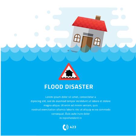 disaster prevention: Building Soaking Under Flood Disaster Vector Illustration.