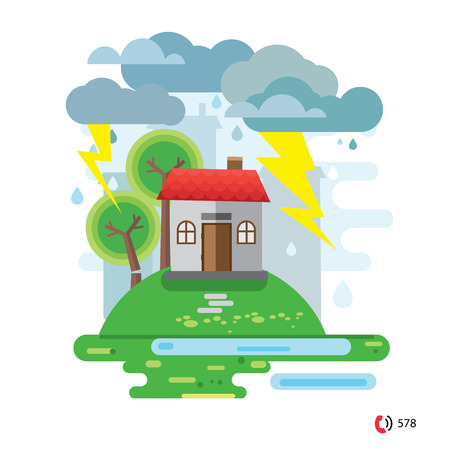 fallen tree: Storm and rain, House damaged by a fallen tree, vector illustration, no transparencies Illustration