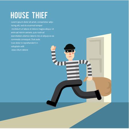 burglar protection: Simple cartoon of a burglar break into a house in flat stele Vector illustration Illustration