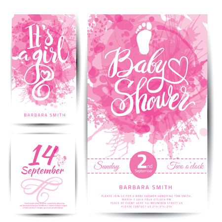 its a girl: Vector watercolor pink sticker set Its a girl. Calligraphy lettering Baby shower. Baby shower design element for invitation design. Illustration