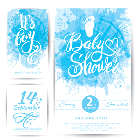 color background: Vector watercolor blue sticker set Its a boy. Calligraphy lettering Baby shower. Baby shower design element for invitation design.