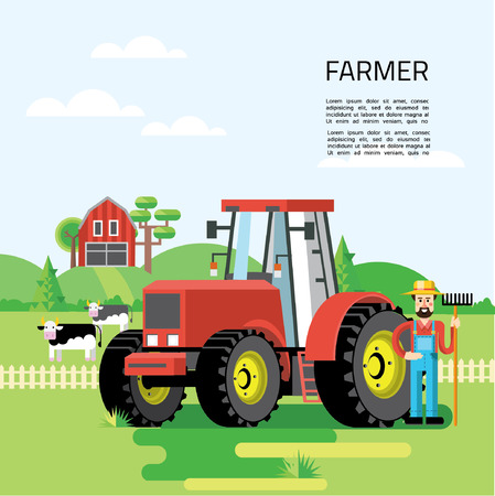 tools: Farming infographic concept with farmer, farm, garden, tractor, animals, vegetables, fruits, harvest, hay, tools. Flat design. Vector illustration