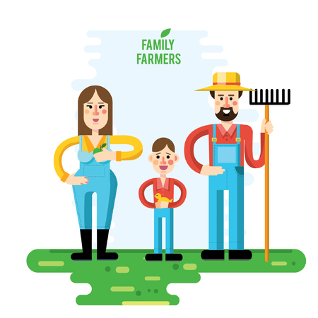 family gardening: Set of pictures  gardener family, garden, mill and landscape with gardening concept. Garden set icons and landscape with a garden, various plants, trees, mill, barn,tractor in flat style