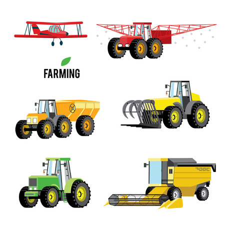 Vector set of agricultural vehicles and farm machines. Tractors, harvesters, combines. crop duster spraying agricultural chemicals pesticide a farm field. Airplane. Illustration in flat design.