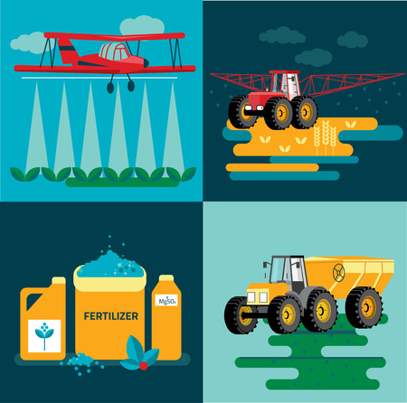 agricultural: modern red tractor in the agricultural field;  crop duster spraying agricultural chemicals pesticide a farm field. Vector Illustration.