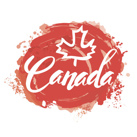 Canada lettering logo with watercolor element isolated. stamp with name of Canada hand drawn in vector. Vettoriali