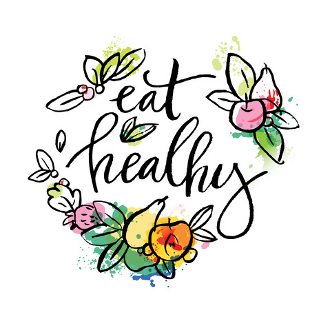 handlettering: Eat healthy - motivational poster or banner with hand-lettering phrase eat healthy on green background with trendy linear icons and signs of fruits and vegetables - vector illustration. Lettering with watercolor elements.