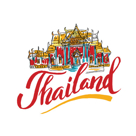 tuk tuk: A vector illustration of hand drawn elements for traveling to Thailand, concept Travel to Thailand. Lettering logo Illustration