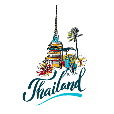 travel logo: A vector illustration of hand drawn elements for traveling to Thailand, concept Travel to Thailand. Lettering logo Illustration