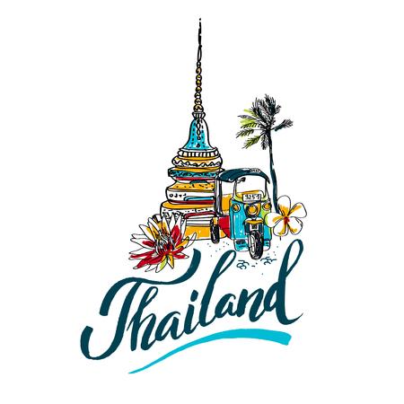 Una ilustración vectorial de la mano elementos dibujados para viajar a Tailandia, el concepto de viaje a Tailandia. logotipo de letras
