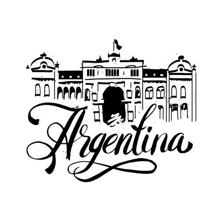 america del sur: Letras de logotipo con el nombre de Buenos Aires la capital de Argentina por escrito dentro del sello. ejemplo dibujado mano del vector. Vectores