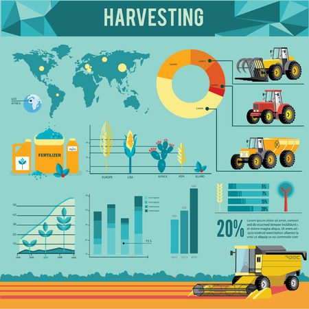 harvesters: Vector set of agricultural vehicles and farm machines infographic. Tractors, harvesters, combines. Illustration in flat design.