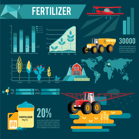 spraying: modern red tractor in the agricultural field infogra infographic, crop duster spraying agricultural chemicals pesticide a farm field. Vector Illustration.