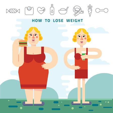 Diet. Choice of girls: being fat or slim. Infographic about lose weight with  heavy woman. Healthy lifestyle and bad habits. Vector flat illustrations