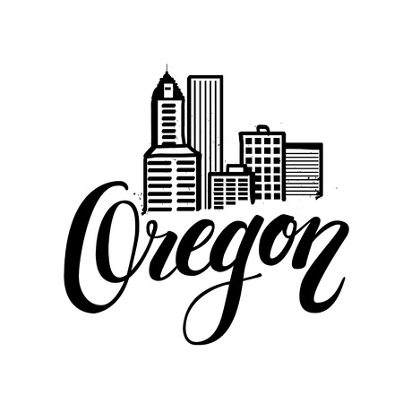 state of oregon: Vector illustration of cityscape  skyline of Portland, Oregon.  lettering logo with hand drawn element isolated. Illustration