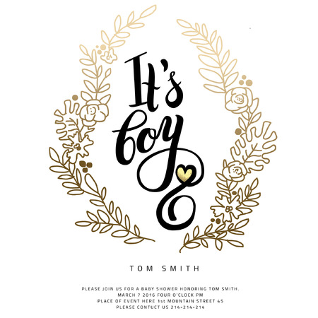 Vector watercolor  sticker with gold foil. Calligraphy lettering Its a boy. Calligraphy lettering.  Baby shower design element for invitation design. Illustration