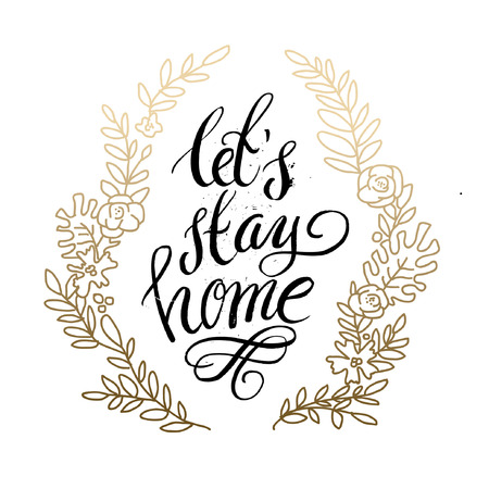 homely: Hand lettering typography poster.Calligraphic quote Home sweet home.For housewarming posters, greeting cards, home decorations.Vector illustration.