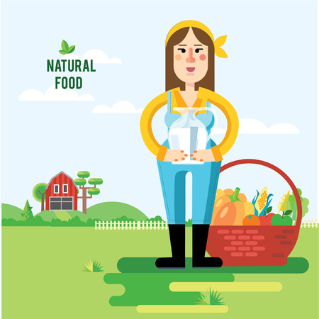 watermelon woman: Vector illustration of farmer woman and vegetables in trendy flat style