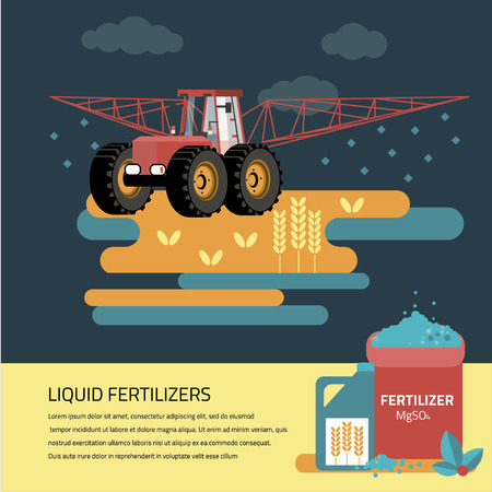 duster: modern red tractor in the agricultural field;  crop duster spraying agricultural chemicals pesticide a farm field. Vector Illustration.