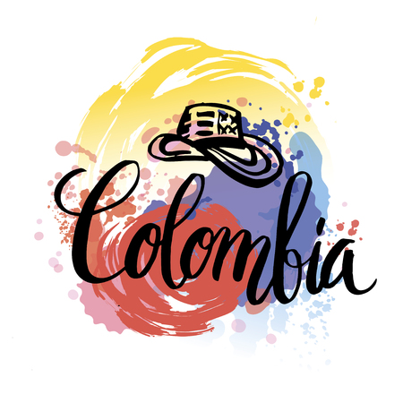 colombia flag: Hand lettering logo with watercolor elements. Vector illustration independence day of Colombia. Illustration