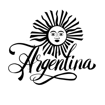 argentine: Argentina lettering. Hand lettering logo with watercolor elements.  argentina flag colors, grunge effects can be easily removed