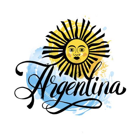 Argentyna liternictwo. Ręcznie liternictwo logo z elementami akwareli. Flaga Argentyny kolory, efekty grunge mogą być łatwo usunięte