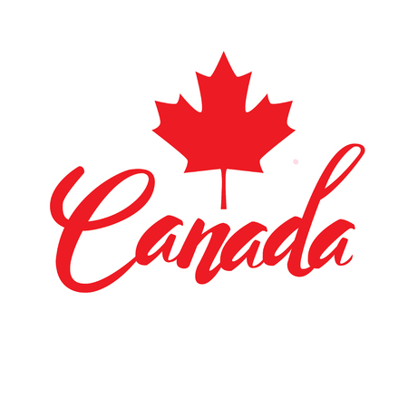 Canada lettering logo with watercolor element isolated. stamp with name of Canada hand drawn in vector. Vectores