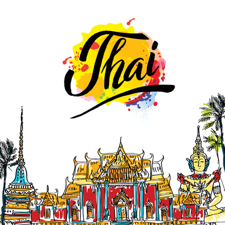 A vector illustration of hand drawn elements for traveling to Thailand, concept Travel to Thailand. Lettering logo Illustration