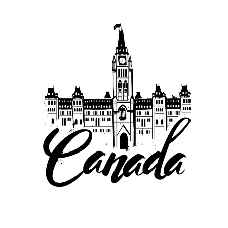 Canada, lettering logo vector illustration. Travel Concept Canada Landmark . The Center Block and the Peace Tower in Parliament Hill, Ottawa, Canada. Иллюстрация