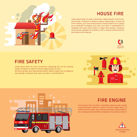 webpage: Firefighters 3 flat horizontal banners webpage for information on fire alarm in building. flat icons composition abstract isolated vector illustration