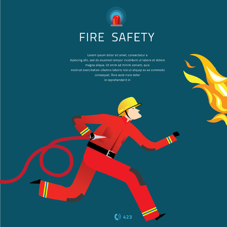 Firefighter Vector Illustration. Fire department composition banner. Vectores
