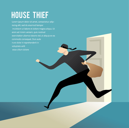 Simple cartoon of a burglar break into a house in flat stele. Vector illustration