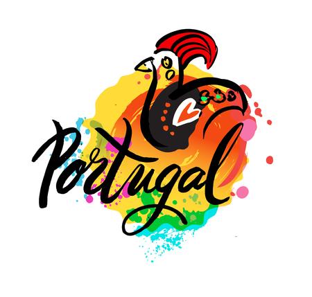 El logotipo de Portugal Destino del viaje - diseño del logotipo de la compañía de viajes Vector - País Bandera Viajes y Turismo ilustración vectorial. Ilustración de una decoración símbolo del gallo de Barcelos Logos
