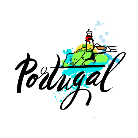 portugal: Portugal The Travel Destination logo. Azenhas do Mar, Portugal coastal town. - Vector travel company logo design - Country Flag Travel and Tourism concept t shirt graphics - vector illustration.