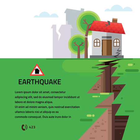 landslide: Earthquake Insurance Colourful Vector Illustration flat style