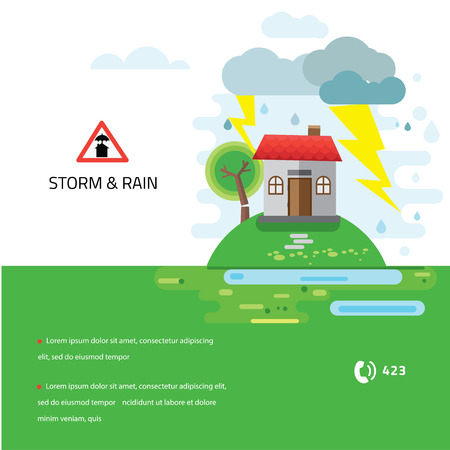 economic rent: Storm and rain, House damaged by a fallen tree, vector illustration, no transparencies Illustration