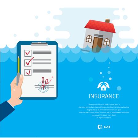 Accueil et assurance habitation. Construire Tremper Under Flood Disaster Vector Illustration.