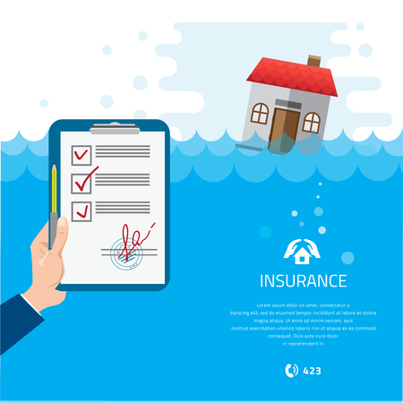 flood: Home and house insurance. Building Soaking Under Flood Disaster Vector Illustration.