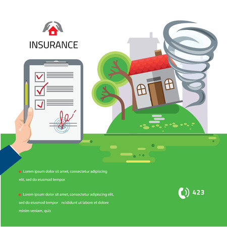 storm damage: Home and house insurance. Tornado swirl damages village house roof vector illustration in flat style